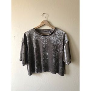 Urban Outfitters Tops - URBAN OUTFITTERS grey velour crop short sleeve top